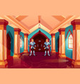armed guards in knight armor stand at forged door vector image vector image