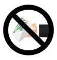 ban bribery symbol sign vector image vector image