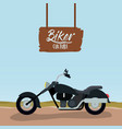 biker culture poster with classic motorcycle with vector image vector image