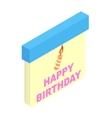 Birthday calendar isometric 3d icon vector image