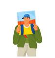 bookworm reads book travel adventures literature vector image