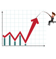 Business man pulling graph to going up growth tren vector image