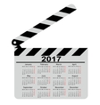 calendar for 2017 movie clapper board vector image