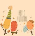 cartoon colorful autumn trees saying hello happy vector image