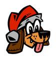 cartoon dog santa hat christmas vector image vector image