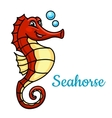 Cartoon tropical marine seahorse fish character vector image