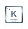 chemical element potassium from the periodic table vector image vector image