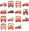 christmas trucks set truck vector image