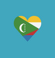 comoros flag icon in a heart shape in flat design vector image vector image