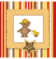 cute greeting card with boy teddy bear vector image