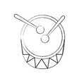 drum and drumsticks bass music top view icon vector image