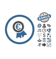 Euro Award Seal Flat Icon With Bonus vector image vector image