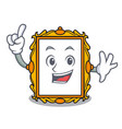 finger picture frame mascot cartoon vector image