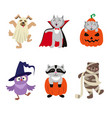 flat animal characters in halloween costumes vector image vector image
