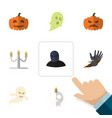 flat icon celebrate set of pumpkin candlestick vector image vector image