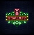 flower shop neon sign flowers store neon tulip on vector image