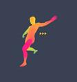 football player 3d model of man sport symbol vector image vector image