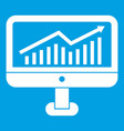 growth graph on the computer monitor icon white vector image vector image