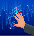 isometric female hand in virtual reality or big vector image