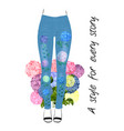 jeans style tee print design with flowers and vector image