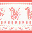 knitted squirrel seamless pattern in red color vector image