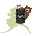 Oil Barrel Alaska map background Flag of United vector image vector image