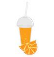 orange juice with orange on white background vector image vector image