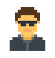 pixel avatar male cartoon retro game style vector image