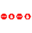 red stop sign isolated stop hand sign vector image vector image