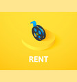 rent isometric icon isolated on color background vector image vector image
