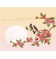 Sakura bird postcard menu vector image vector image