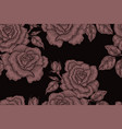 seamless pattern with vintage rose flowers vector image vector image