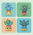 set of cute houseplants cartoon on colorful frames vector image vector image
