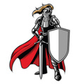 standing knight mascot vector image vector image