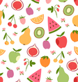 Stylized flat fruits berries and pink flowers vector image vector image