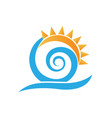 swirly waves under the sun icon vector image
