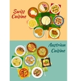 Swiss and austrian cuisine popular dishes icon vector image vector image