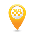 taxi icon map pointer yellow vector image vector image