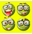 Tennis ball with facial expression vector image vector image