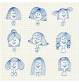 Vintage avatar sketches with hairstyles vector image vector image