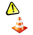 warning sign and traffic cone vector image vector image