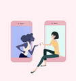 womans on mobile phones business concept vector image