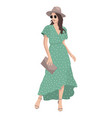 women on high heels dressed in stylish trendy vector image