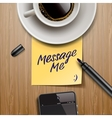 Yellow stick note with marker coffee cup and vector image vector image