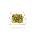 stir fried baby cabbage with crispy pork thai vector image