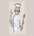 woman caucasian young cook chef worker in chefs vector image