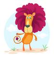 cute cartoon lion character vector image