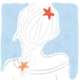 Hand-drawn fashion female portrait woman with long vector image