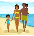 african american family walking happy along beach vector image vector image