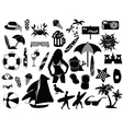 beach icons on white background vector image vector image